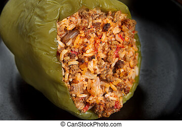 stuffed pepper - stuffed green pepper with spanish rice