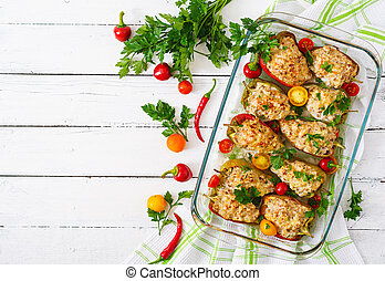 Stuffed peppers minced chicken with pepper chilli with tomat...