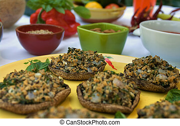 Vegetarian stuffed portobello mushrooms on a plate