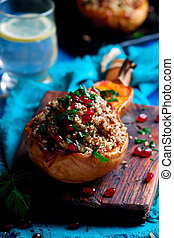 Stuffed pumpkin with couscous. selective focus