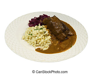stuffed rouladen with spaetzle and cabbage