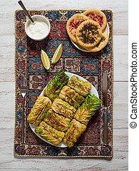 Stuffed Savoy cabbage roulades. Arabic food.