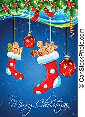 illustration of christmas goodies stuffed in santa stocking