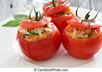 Stuffed tomatoes with cheese and breadcrumbs - Stuffed...
