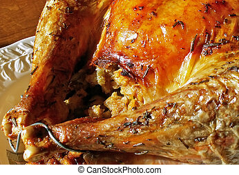 stuffed turkey on a platter