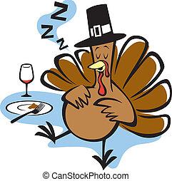 Vector Illustration of a turkey stuffed on Thanksgiving.