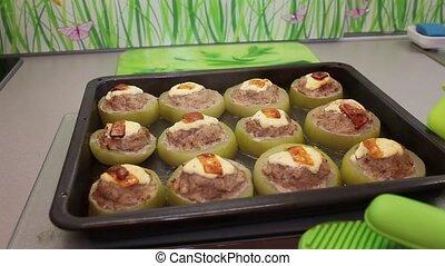 stuffed zucchini - The Cooking of stuffed zucchini in the...