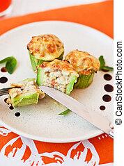 Stuffed zucchini - Zucchini stuffed with vegetables, ...