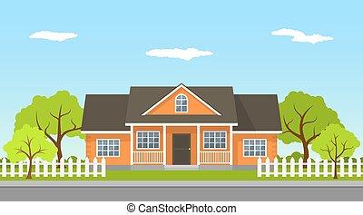 stuga, hus, landskap