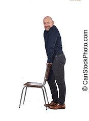 stuhl, ansicht, mann, seite, stehende , hintergrund, weißes