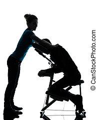 stuhl, therapie, massage