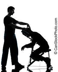 stuhl, therapie, rückenmassage