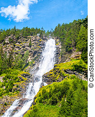Stuiben waterfall, or Stuibenfall, is the highest waterfall in Tyrol, Austria. View from below