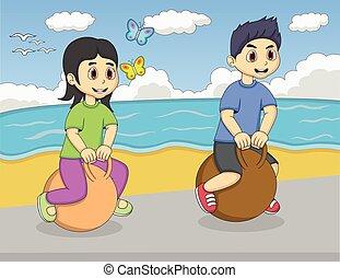 stuiterende bal, kinderen spelende
