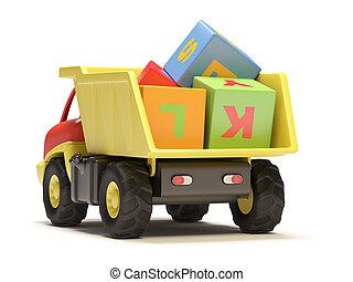 stuk speelgoed vrachtwagen, blokje