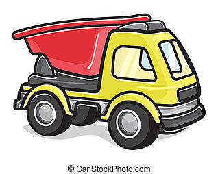 stuk speelgoed vrachtwagen, geitjes