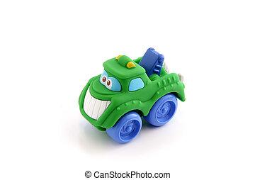 stuk speelgoed vrachtwagen, gezicht