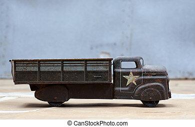 stuk speelgoed vrachtwagen, leger