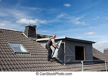 stuk, verdragend, metaal, roofer, dakvenster