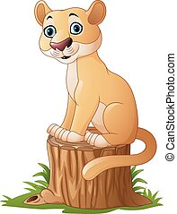 stum, katteagtig, træ, cartoon, siddende