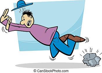 stumbling man cartoon illustration - Cartoon Illustration of...