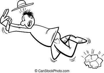 stumbling man coloring page - Black and White Cartoon...