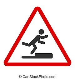 Stumbling man icon in red triangle. A warning sign about the danger. Tripping hazard. Watch your step symbol. Isolated vector illustration on white background