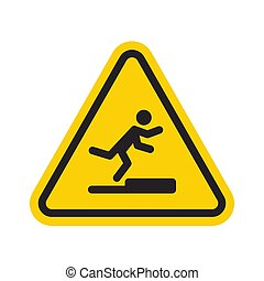 Stumbling man icon in yellow triangle. A warning sign about the danger. Tripping hazard. Watch your step symbol. Isolated vector illustration on white background