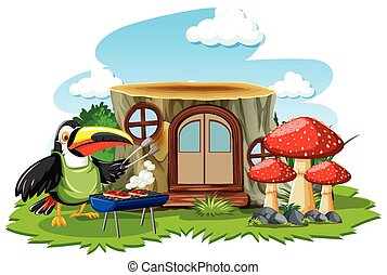 Stump house with cute bird cartoon style on white background