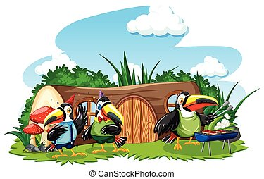 Stump house with three cute bird cartoon style on white background