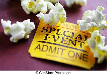 stump, popcorn, biljett, händelse, speciell