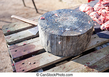 Stump tree for cutting the meat