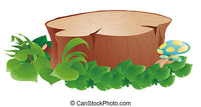 Stumps and grass - Stumps with green grass and mushroom in a...