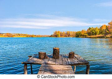 Stumps on fishing pier