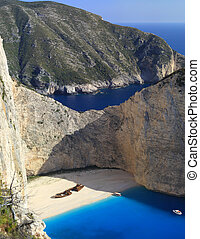 stuning landscape of a beach with a shipwreck - beautiful...