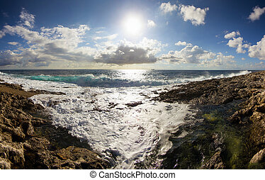 stuning landscape with sea and clouds - landscape of a rocky...