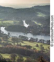 Stuning vibrant Autumn Fall landscape image of view from Gummers How down onto Derwent Wter in Lake District