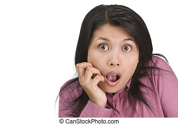 Stunned - A young woman is stunned by something happened. ...