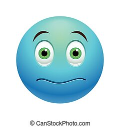 Stunned emoticon, colored picture with emotional face isolated on white