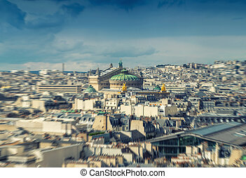 Stunning aerial view of Paris on a summer day, blurred view