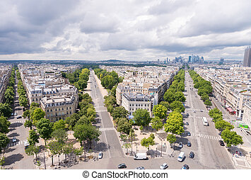 Stunning aerial view of Paris streets from Triumph Arc