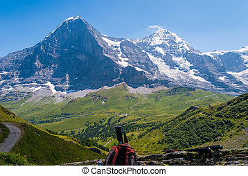 Stunning Alpine panorama of the Eiger peak North wall and Monch, Grindelwald, in the Bernese Alps, Switzerland, Europe