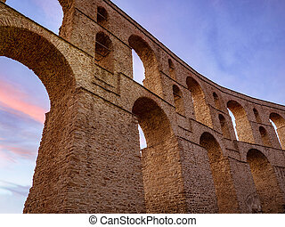 Stunning ancient Roman aqueduct in center of Kavala city - Greece