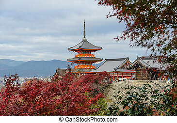 Kiyomizu-dera Temple in Kyoto, Japan - Stunning autumn color...