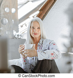 stunning beautiful and self confident best aged woman with grey hair