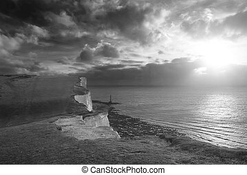 Stunning black and white landscape image of Beachy Headt...