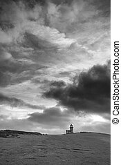 Stunning black and white landscape image of Belle Tout...