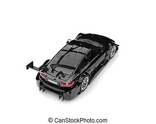 Stunning black modern super car - top down back view