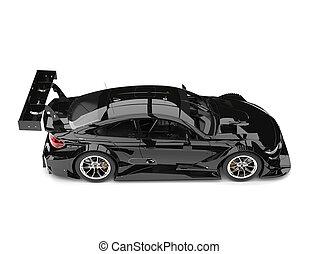 Stunning black modern super car - top down side view