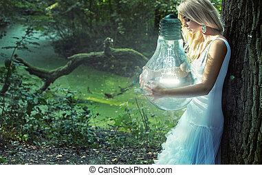 Stunning blond lady holding huge lightbulb